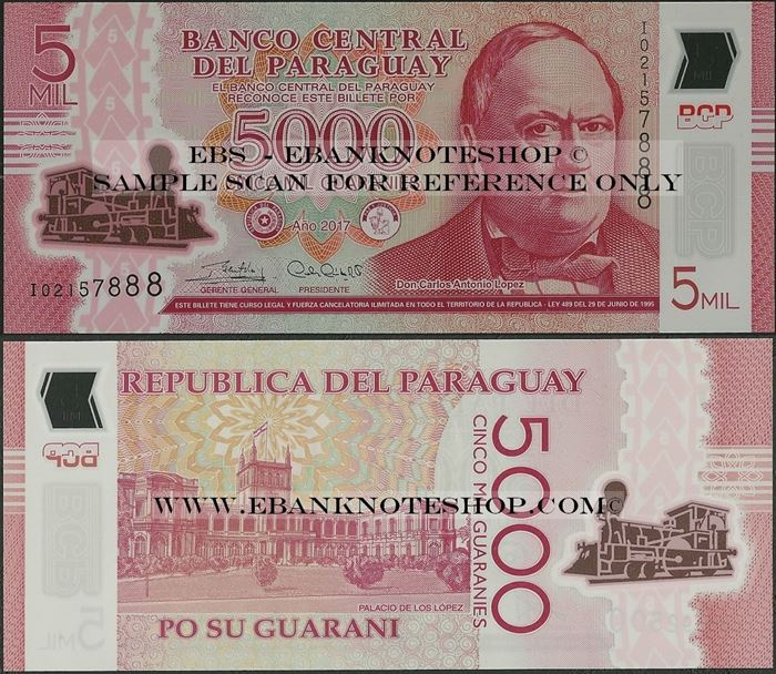 Picture of Paraguay,P234,B857c,5000 Guarani,2017,Polymer