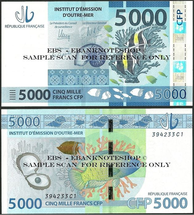 Picture of French Pacific,P7,B107a,5000 Francs,2014