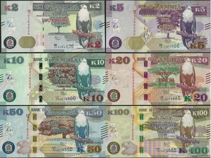 Picture of Zambia,SET - 6 Notes,PNew,B165-B170,2 to 100 Kwacha,2018