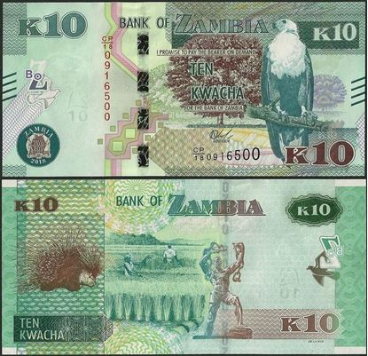 Picture of Zambia,B167a,10 Kwacha,2018