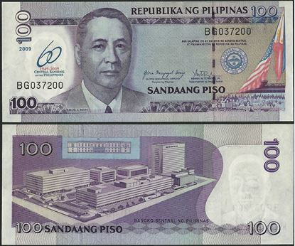 Picture of Philippines,P202a,B1058,100 Piso,2009,Comm,60 Annv
