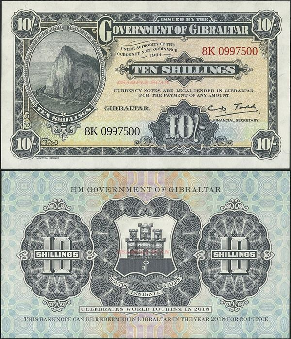 Picture of Gibraltar,BNP102,10 Shillings,2018,Comm