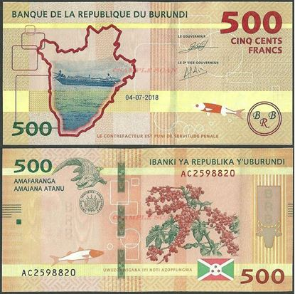 Picture of Burundi,B236b,500 Francs,2018