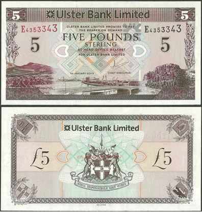 Picture of Northern Ireland,P340,B936b,5 Pounds,2013,Ulster