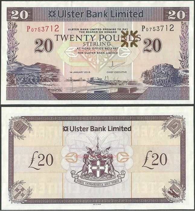 Picture of Northern Ireland,P342,B938g,20 Pounds,2015,Ulster