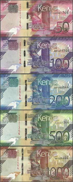 Picture of Kenya,5 NOTE SET,B144-B148,1850 Shillings,2019