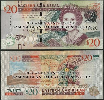 Picture of East Caribbean States,P53b,B237b,20 Dollars,2015
