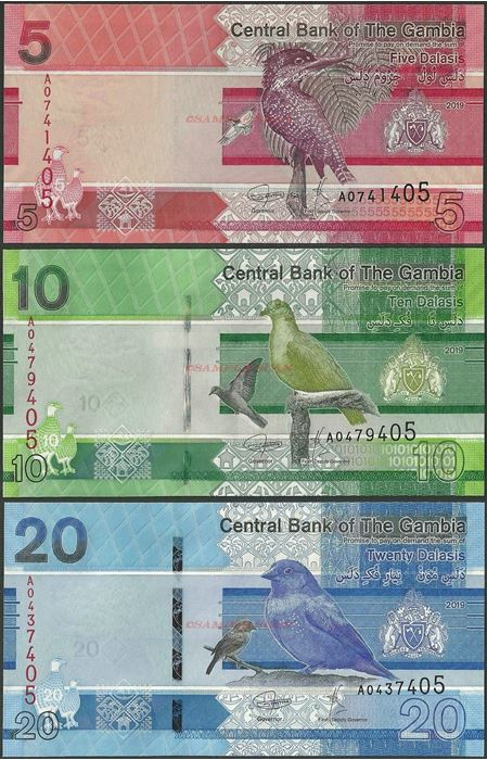 Picture of Gambia,B235-B237,5-20 Dalasi,2019,3 NOTE SET