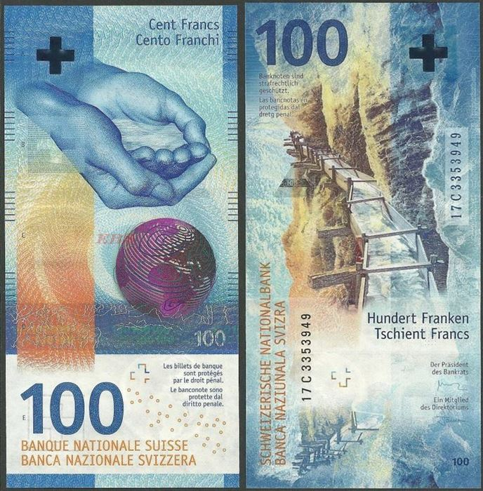 Picture of Switzerland,B358,100 Francs,2019,Sg 80