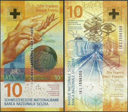 Picture of Switzerland,P75,B355,10 Francs,2017,Sg 80