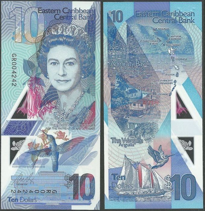 Picture of East Caribbean States,PNL,B241,10 Dollars,2019
