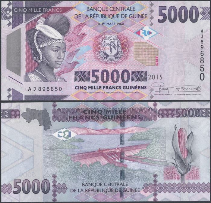 Picture of Guinea,P49,B340, 5000 Francs,2015