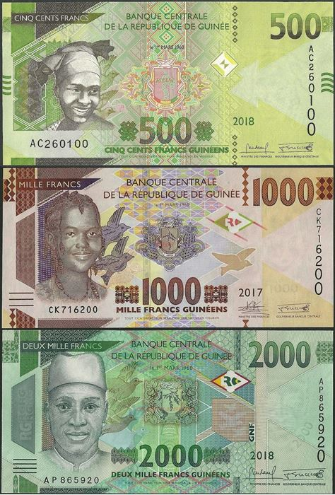 Picture of Guinea,SET,B341 -B343,500 -2000 Francs,2015-2019