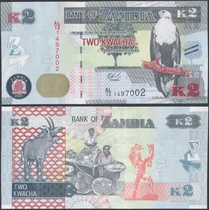 Picture of Zambia,P56,B159,2 Kwacha,2015,bleed lines