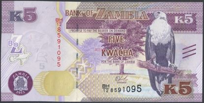 Picture of Zambia,P57,B160,5 Kwacha,2015,bleed lines