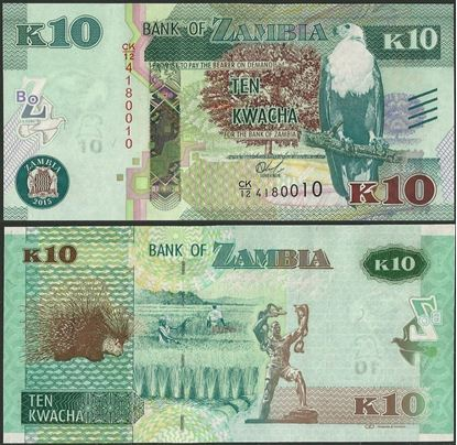 Picture of Zambia,P58,B161,10 Kwacha,2015,bleed lines