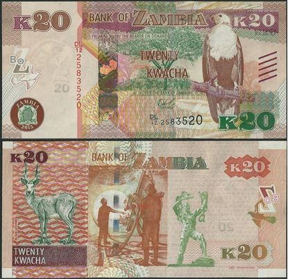 Picture of Zambia,P59,B162,20 Kwacha,2015,bleed lines