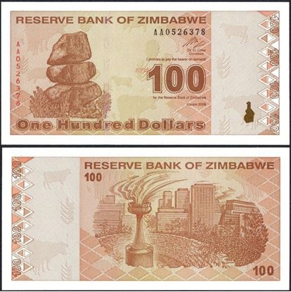 Picture of Zimbabwe,P097,B188,100 Dollars,2009