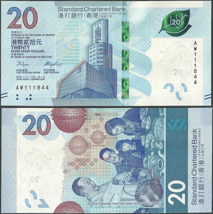 Picture of Hong Kong,B423a,PNL,20 Dollars,2018,SCB