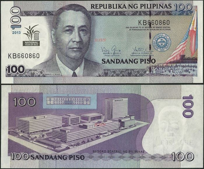 Picture of Philippines,P220,B1074,100 Piso,2013,Comm,Rice