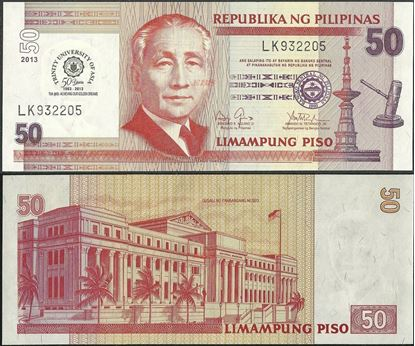 Picture of Philippines,P216,B1072,50 Piso,2013,Comm,Trinity Uni