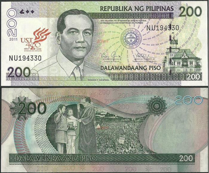 Picture of Philippines,P212C,B1065,200 Piso,2011,Comm,Santo Tomas