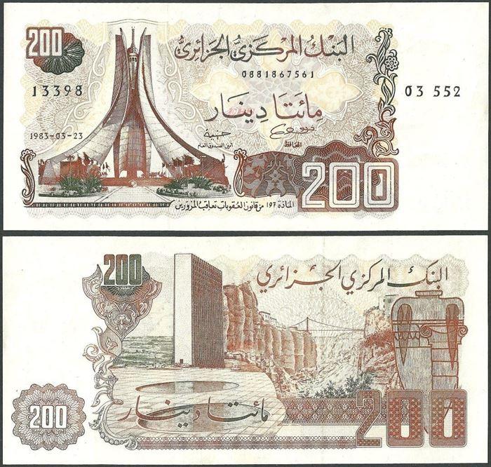 Picture of Algeria,P135,B314b,200 Dinars,1983,XF/AUNC