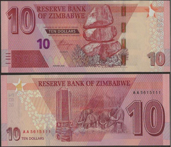 Picture of Zimbabwe,B194,10 Dollars,2020