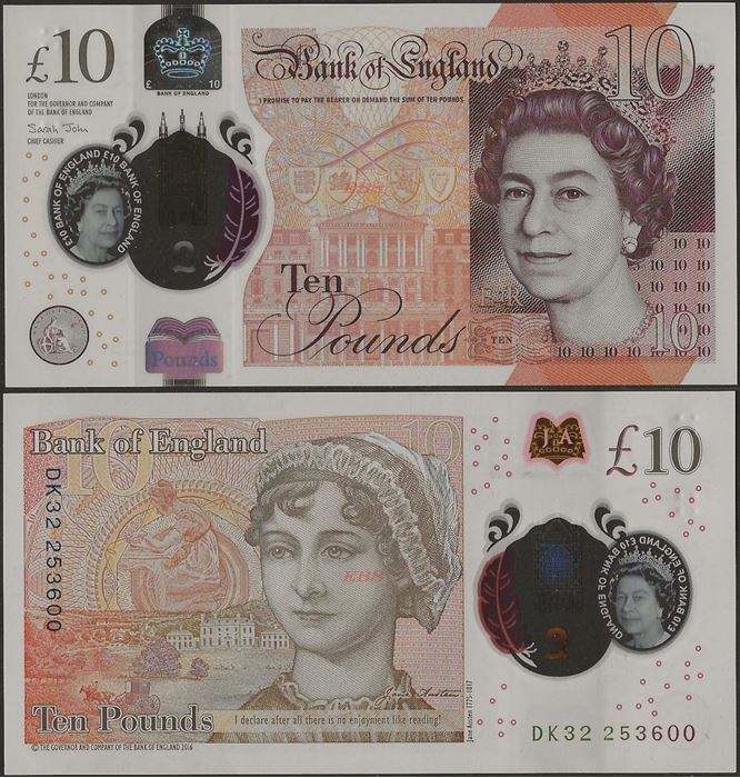 Picture of England,P395,B204b,10 Pounds,2020,Polymer