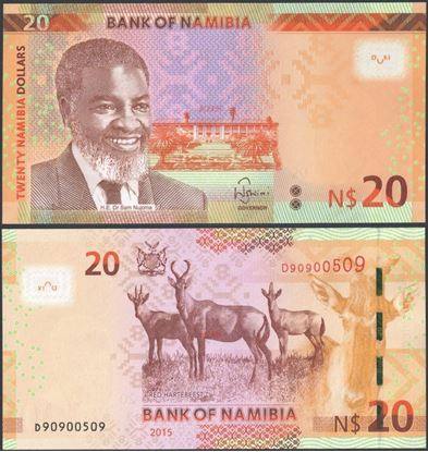 Picture of Namibia,P17,B217,20 Dollars,2015