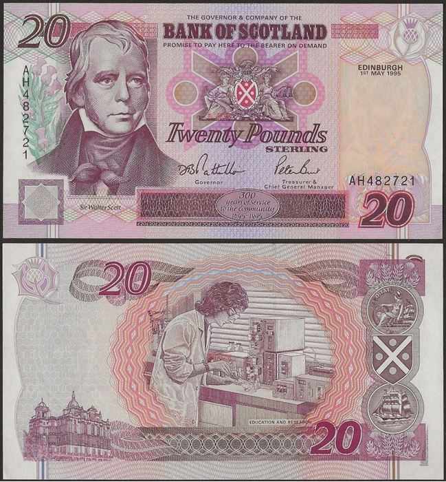 Picture of Scotland,P121,20 Pounds,1995,BoS