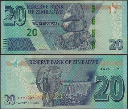 Picture of Zimbabwe,B195,20 Dollars,2020,AA