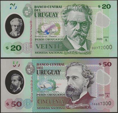 Picture of Uruguay,SET 2 - 20/50 Pesos Uruguayos,2020