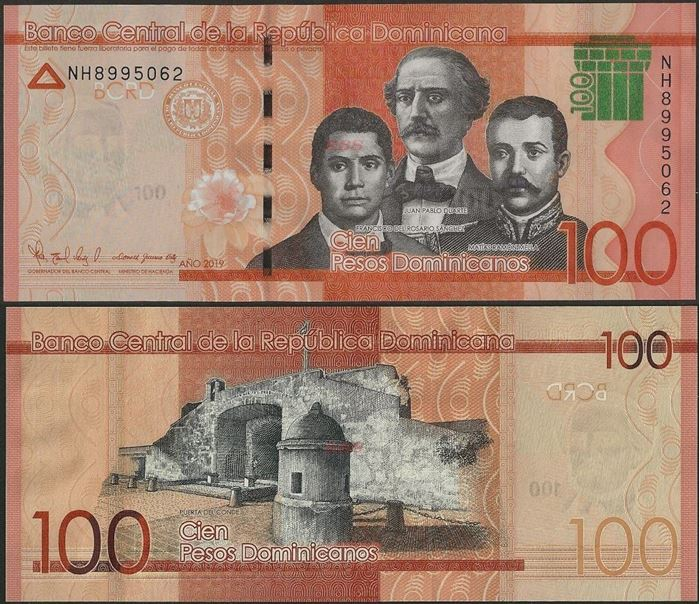Picture of Dominican Republic,PNew,B728b,100 Pesos Dominicanos,2019