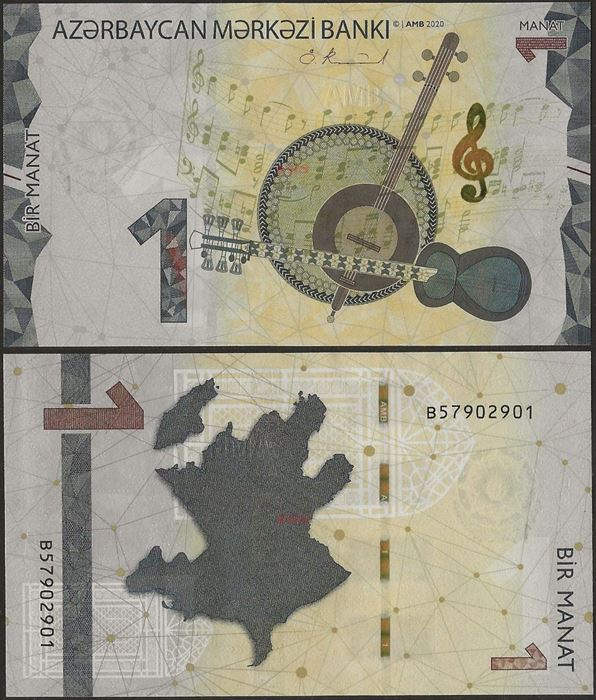 Picture of Azerbaijan,B408a,1 Manat,2020(In 2021)