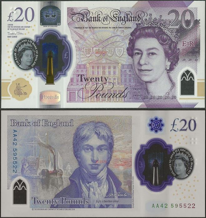 Picture of England,B205,20 Pounds,2019,Polymer,AA prefix