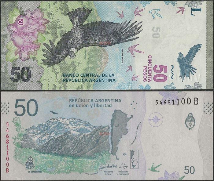 Picture of Argentina,P363,B418b,50 Pesos,2018