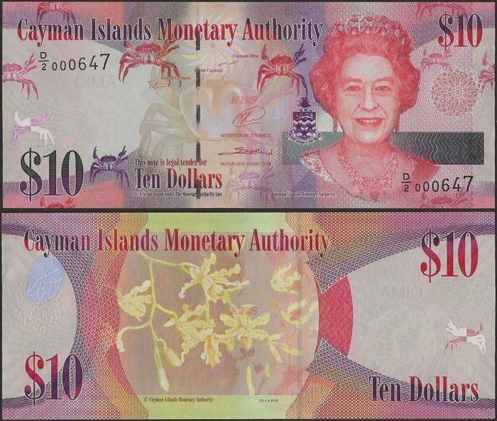 Picture of Cayman Islands,P40b,B220b,10 Dollar,D/2