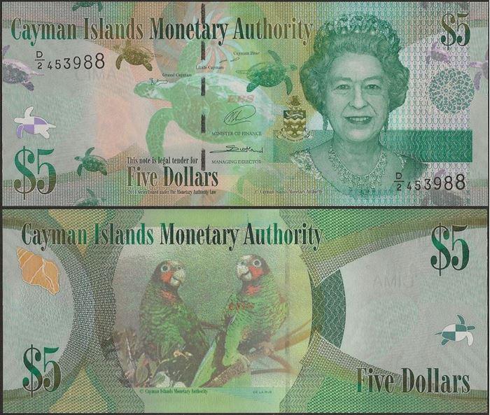 Picture of Cayman Islands,P39b,B219b,5 Dollar,D/2