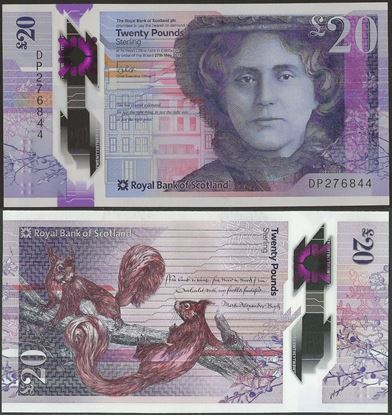 Picture of Scotland,20 Pounds,2019,RBS,Polymer,Alison Rose
