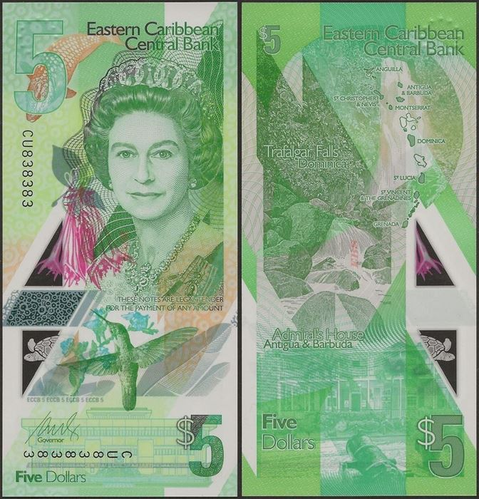Picture of East Caribbean States,PNL,B240,5 Dollars,2019