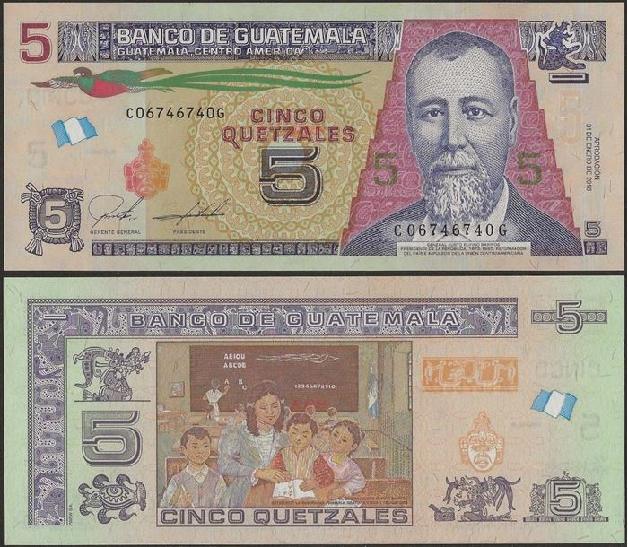 Picture of Guatemala,P116,B605b,5 Queztals,2018