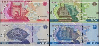 Picture of Uzbekistan, 4 Note Set ,2000-20k,Som,2021