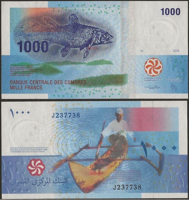 Picture of Comoros,P16b,B307b,1000 Francs,2005
