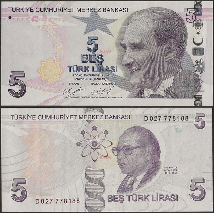 Picture of Turkey,P222b,B306c,5 Lira,D Prefix
