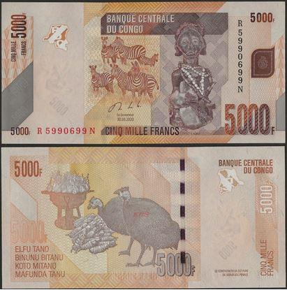 Picture of Congo Dem Republic,P102c, B324c,5000 Francs,2020