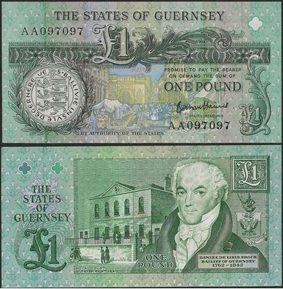 Picture of Guernsey,P52d,B157d,1 Pound,2020?,AA Prefix