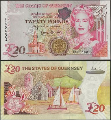 Picture of Guernsey, P58c,B166a,20 Pounds,2009,E